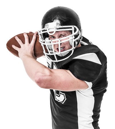 American football player isolated on white background. Stock Photo