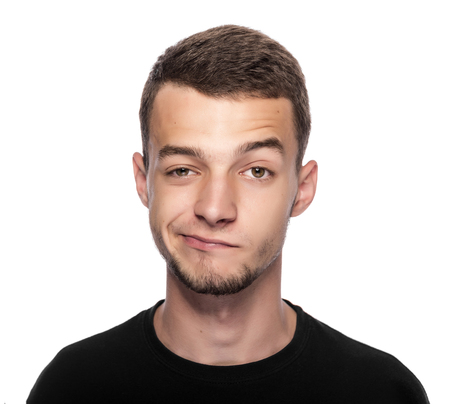 illogical: Man with funny face isolated on white.