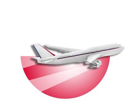 bandera de polonia: Avión en la bandera de fondo de Polonia. Concepto de viaje Foto de archivo
