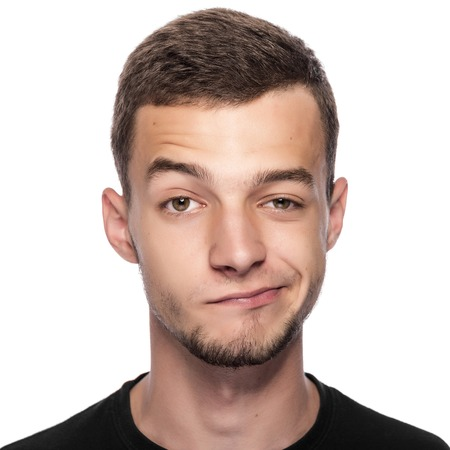 inconsistent: Man with funny face isolated on white.