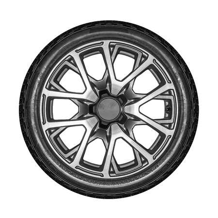 alloy wheel: Car wheel. Unbranded car alloy wheel isolated on a white background. Stock Photo