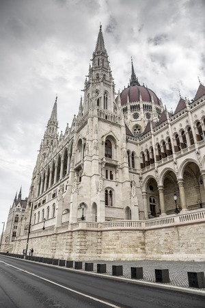 hungarian: Side view of the hungarian parliament in Budapest, Europe. Stock Photo