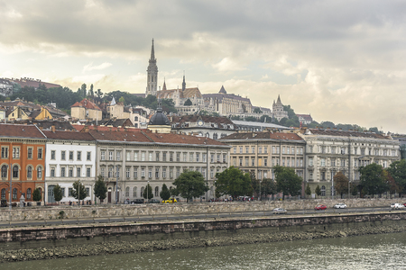 bastion: BUDAPEST, SEPTEMBER 17: View of Buda side of Budapest with the Buda Castle, St. Matthias and Fishermens Bastion on September 17, 2016 in Budapest, Hungary. Editorial