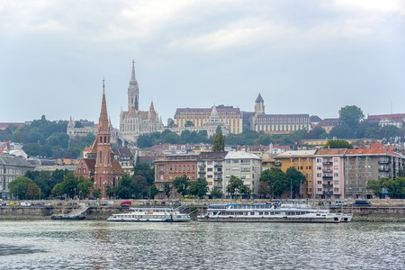 BUDAPEST, SEPTEMBER 17: View of Buda side of Budapest with the Buda Castle, St. Matthias and Fishermens Bastion on September 17, 2016 in Budapest, Hungary. Editorial