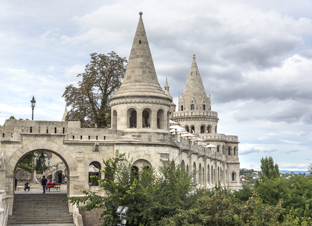 fishermen's: Ancient architectural building Fishermens Bastion in Budapest, Hungary.