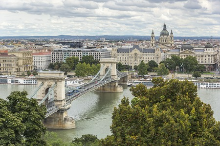 building a chain: BUDAPEST, SEPTEMBER 18: View of Szechenyi Chain bridge on September 18, 2016 in Budapest, Hungary