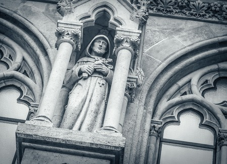 sculpting: Medieval of gothic sculpting of the temple, close-up. Stock Photo
