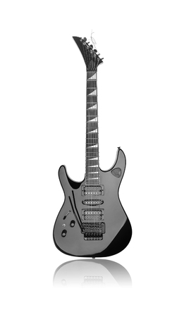Black electric guitar isolated over white background. Stock Photo