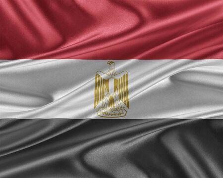 bandera de egipto: bandera de Egipto. Marca con una hermosa textura de seda brillante.