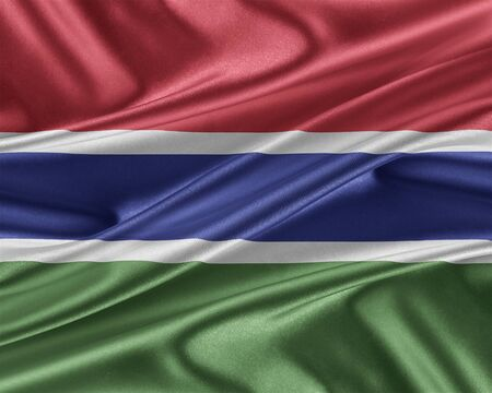 gambia: Gambia flag. Flag with a beautiful glossy silk texture. 3D illustration.