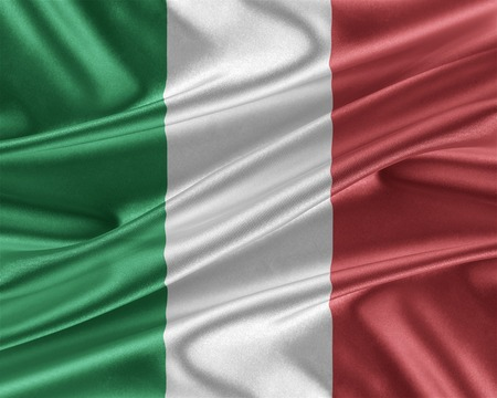 trade union: Italy flag. Flag with a beautiful glossy silk texture. 3D illustration.