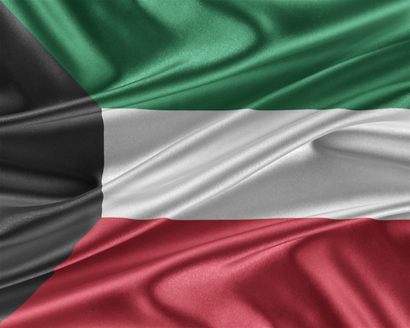Kuwait flag. Flag with a beautiful glossy silk texture. 3D illustration.