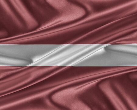 trade union: Latvia flag. Flag with a beautiful glossy silk texture. 3D illustration.