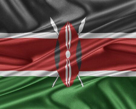 trade union: Kenya flag. Flag with a beautiful glossy silk texture. 3D illustration.