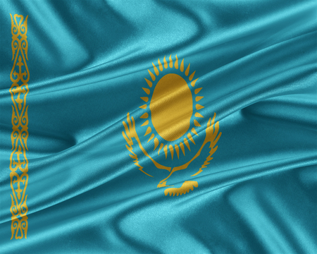 Kazakhstan flag. Flag with a beautiful glossy silk texture. 3D illustration. Stock Photo