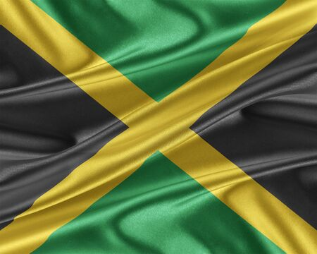 trade union: Jamaica flag. Flag with a beautiful glossy silk texture. 3D illustration. Stock Photo
