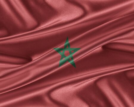 trade union: Morocco flag. Flag with a beautiful glossy silk texture. 3D illustration.