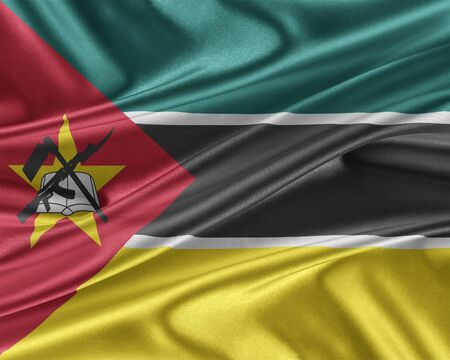 Mozambique flag. Flag with a beautiful glossy silk texture. 3D illustration.