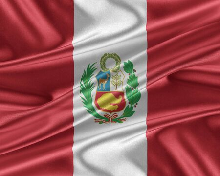 bandera de peru: bandera de Perú con una textura de seda brillante.