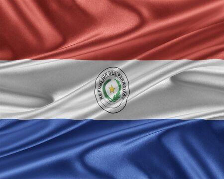 bandera de paraguay: Bandera de Paraguay con una textura de seda brillante. Foto de archivo