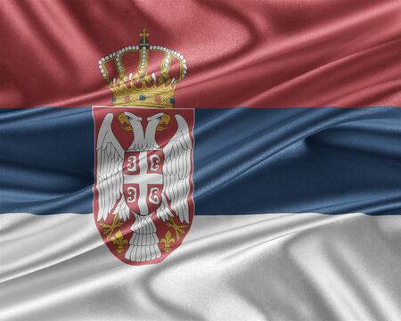 Serbia flag with a glossy silk texture. Stock Photo