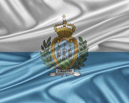 San Marino flag with a glossy silk texture.