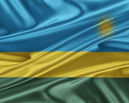 trade union: Rwanda flag with a glossy silk texture.