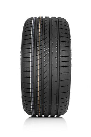 traction: Car tire isolated on white background. Stock Photo