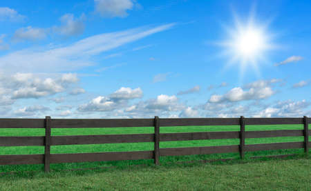 Farm. Field with grass and a fence. Stock Photo