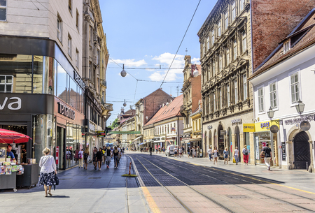 Square Ban Josip Jelacic with tourists on a summer day in Zagreb Editorial
