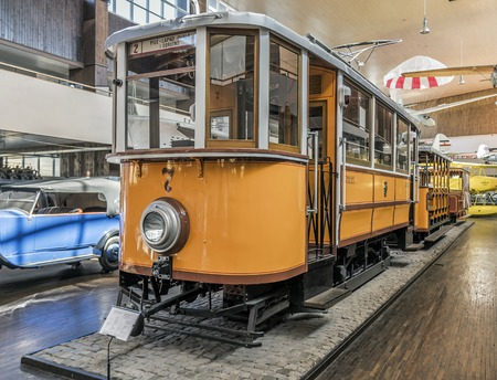 Old tram at the Tesla Museum in Zagreb.