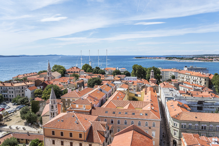 Zadar city from tower. Dalmatia. Croatia. 免版税图像