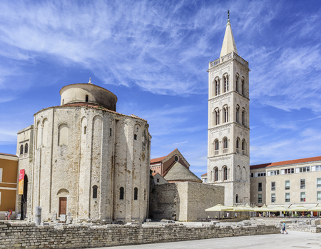 St. Donat church, forum and Cathedral of St. Anastasia bell tower in Zadar.