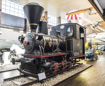 Ancient locomotive in the Tesla Museum in Zagreb.