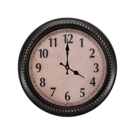Ancient wall clock on a white background.