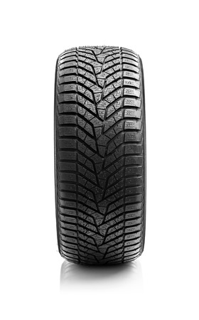 traction: Winter tire. Winter tire of the car on a white background. Stock Photo