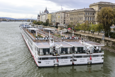 Cruise ship and panoramic view of Danube in Budapest