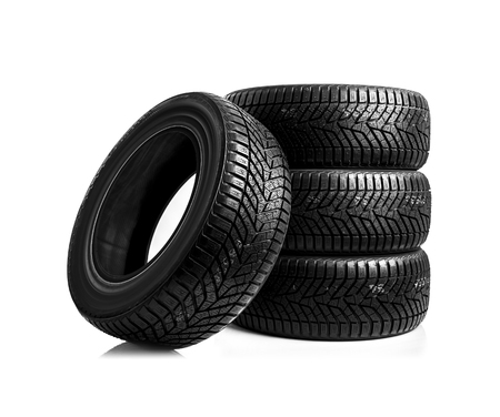 Winter tires on a white background. Banque d'images