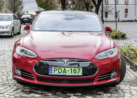 Car Tesla Model S Parked on the streets of Budapest.