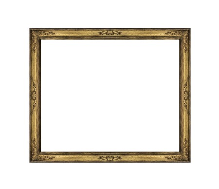 Old picture frame isolated on white background. Фото со стока