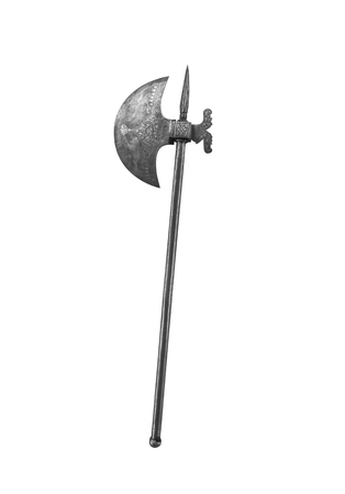 Ancient halberd or war ax on a white background.