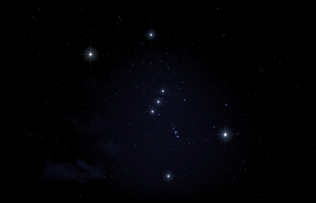 Constellation of Orion in night sky.
