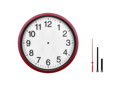 Horloge murale rouge isolé sur fond blanc. Banque d'images