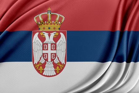 Serbia flag. Flag with a beautiful glossy silk texture. Imagens