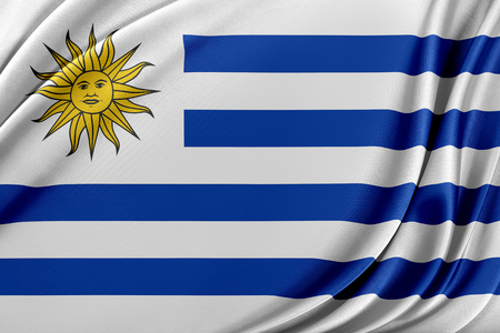 Uruguayflag. Flag with a beautiful glossy silk texture.