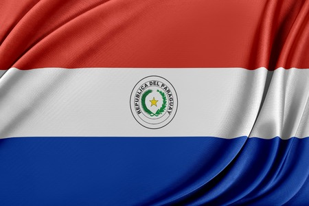 Paraguay flag. Flag with a beautiful glossy silk texture. Imagens