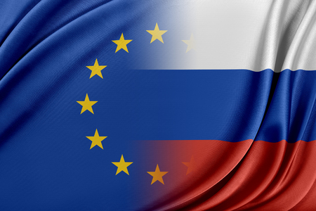 European Union and Russia. The concept of relationship between EU and Russia. 스톡 콘텐츠