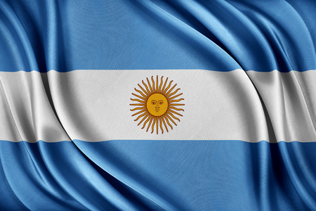 Argentina flag. Flag with a glossy silk texture. Imagens