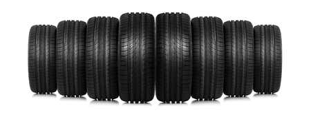 Group of car tires isolated on white.