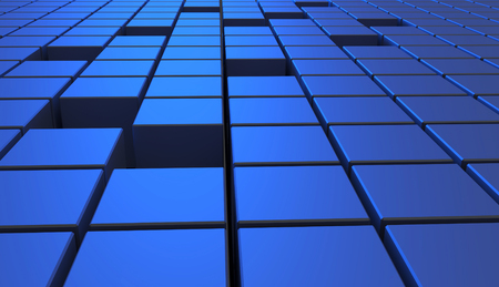Abstract background of cubes in blue color. 3D illustration. 版權商用圖片